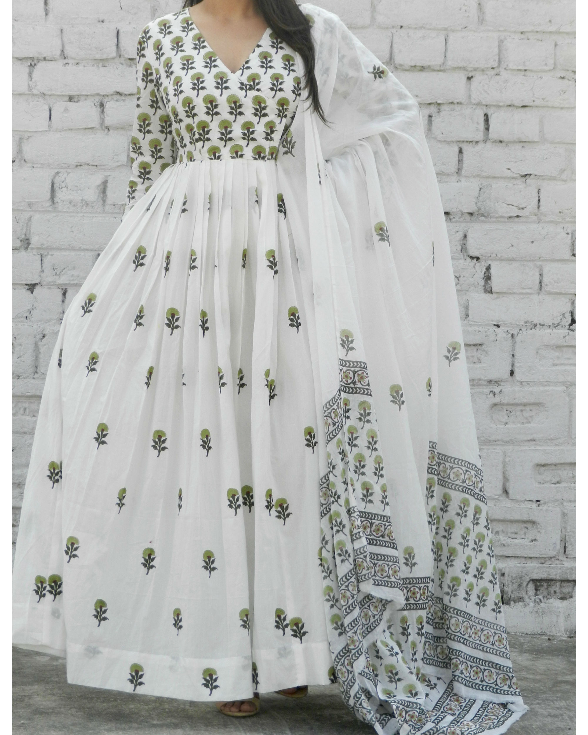 Olive green block printed angrakha suit with dupatta
