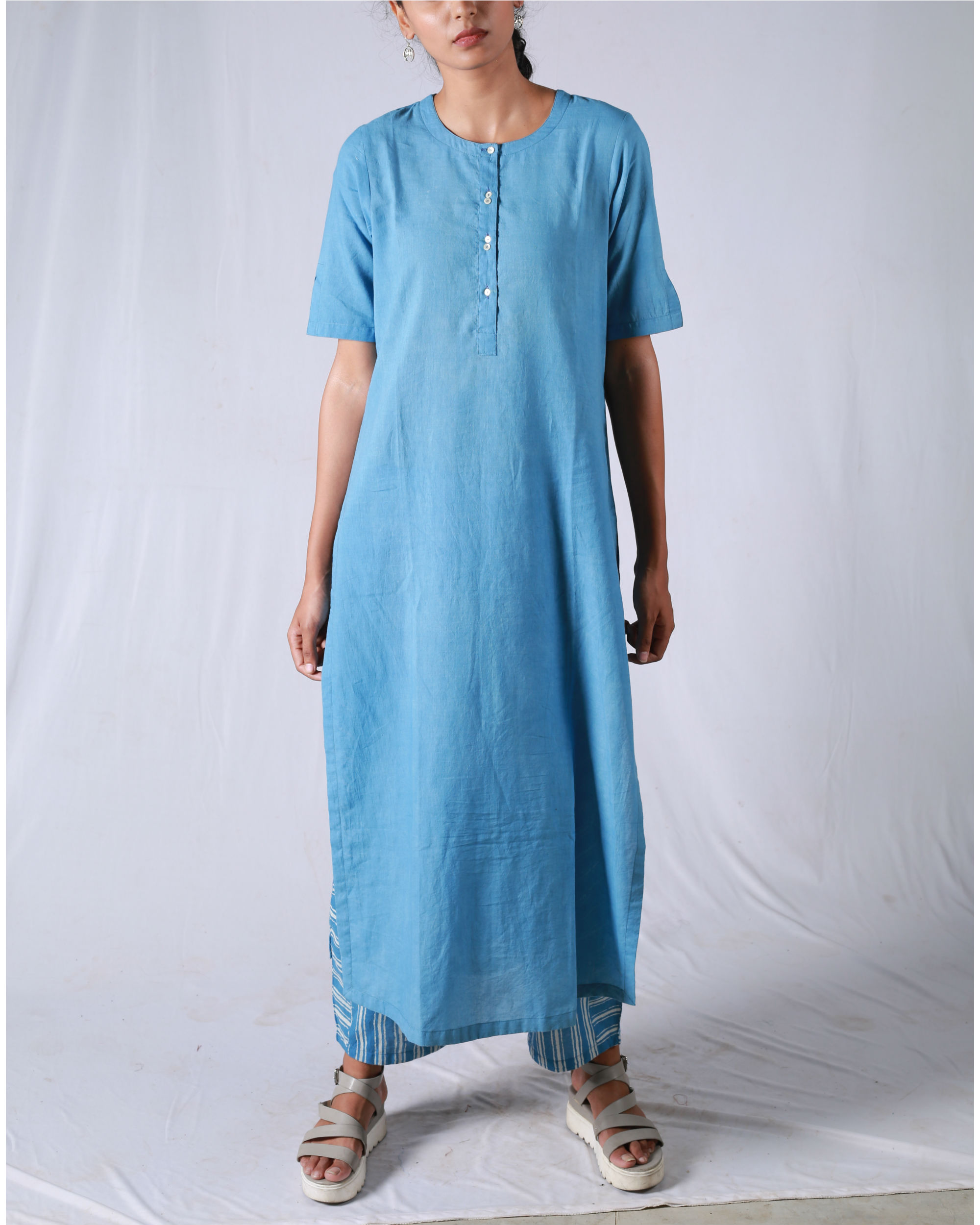 Blue kurta with striped pants
