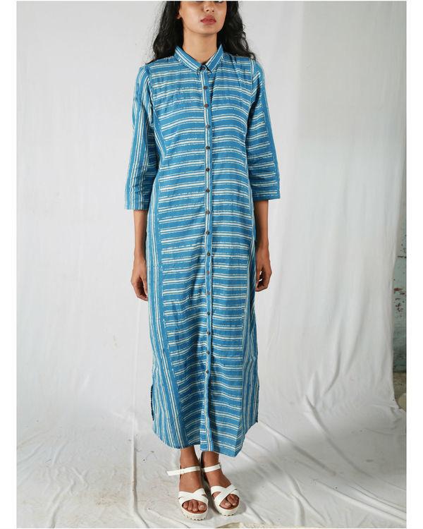 Blue asymmetric striped kurta