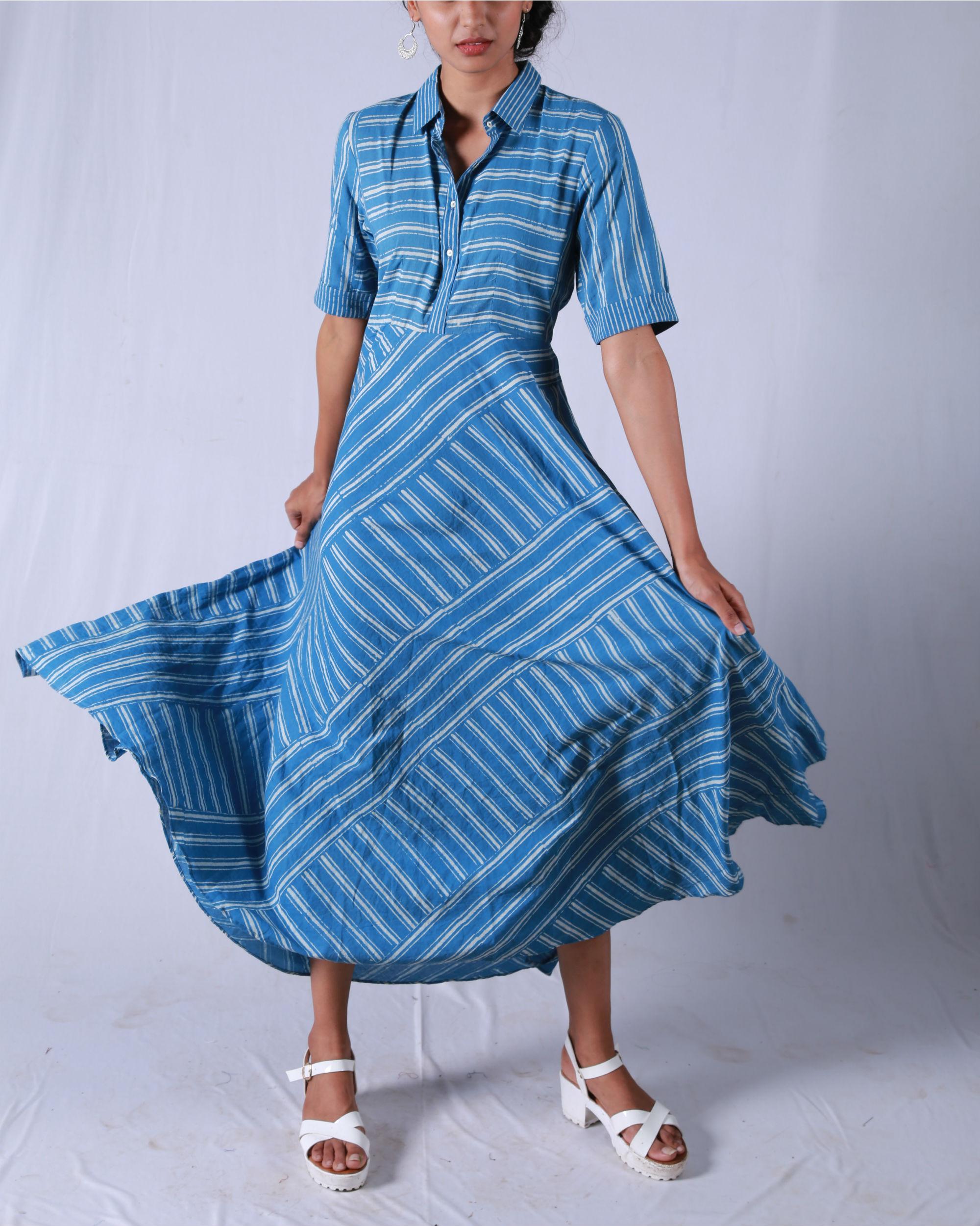 Blue umbrella yoke dress