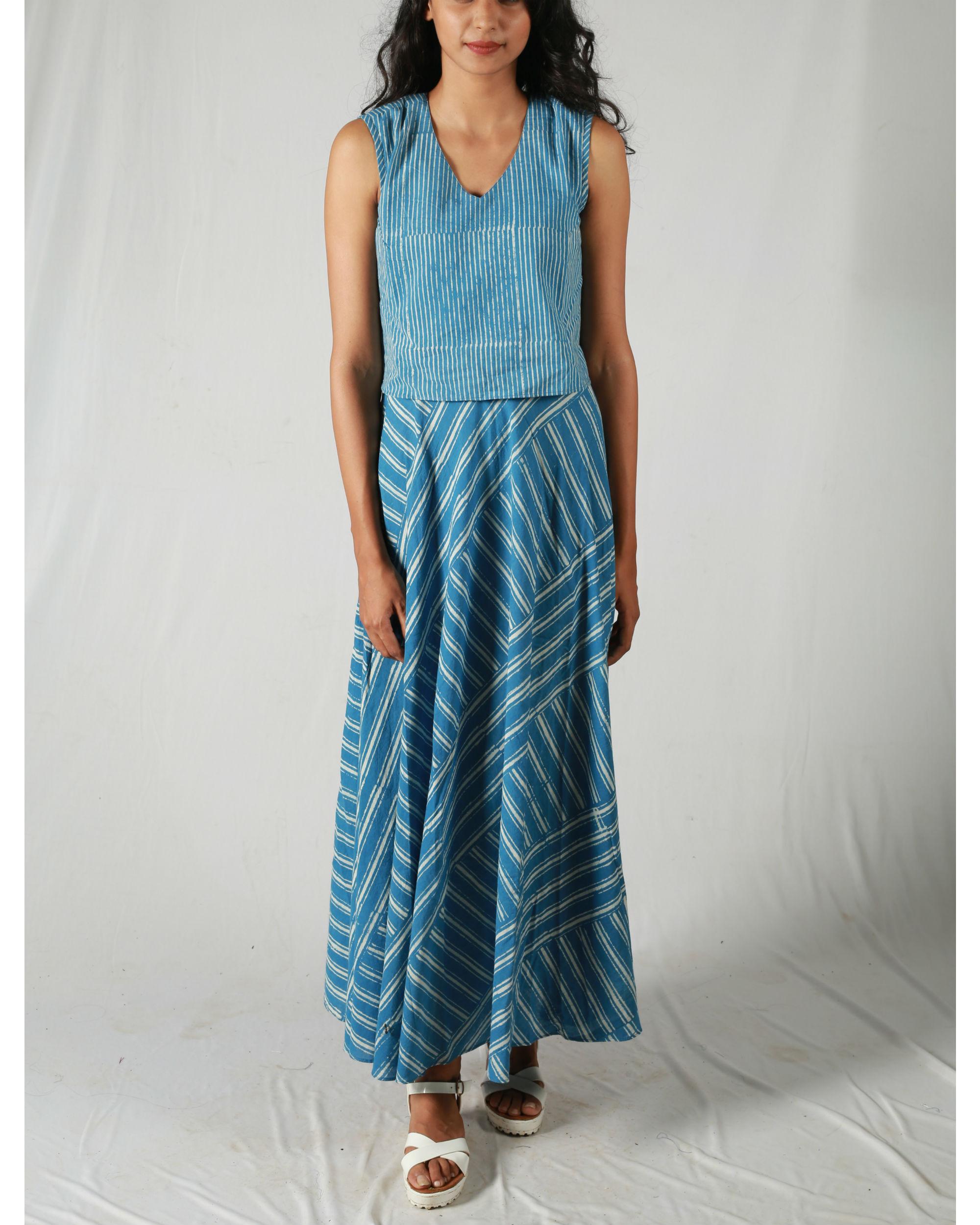 Mixed stripes blue dress