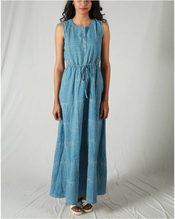 Blue gathered waist maxi