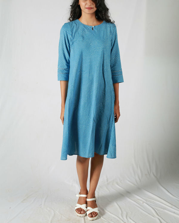 Blue dotted flared dress