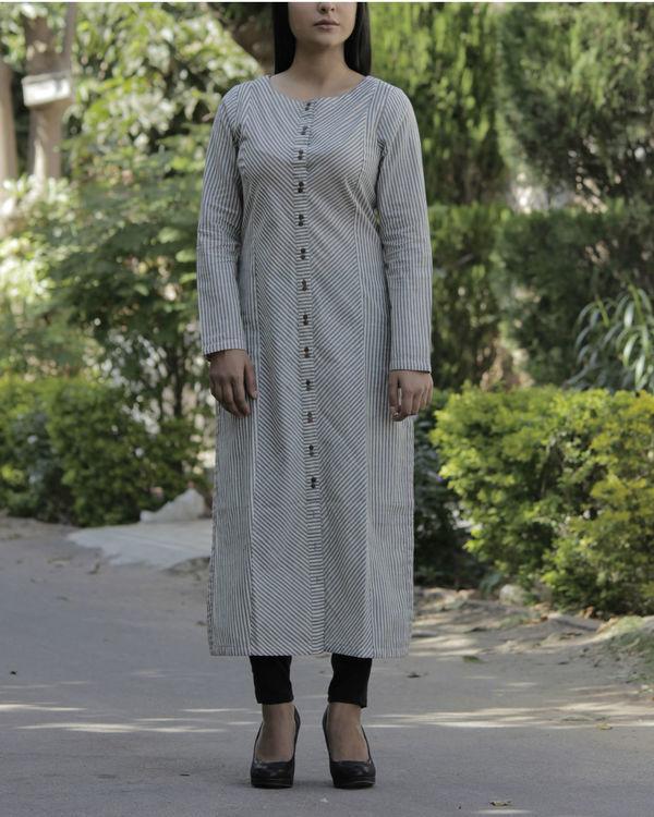 Grey front slit kurta