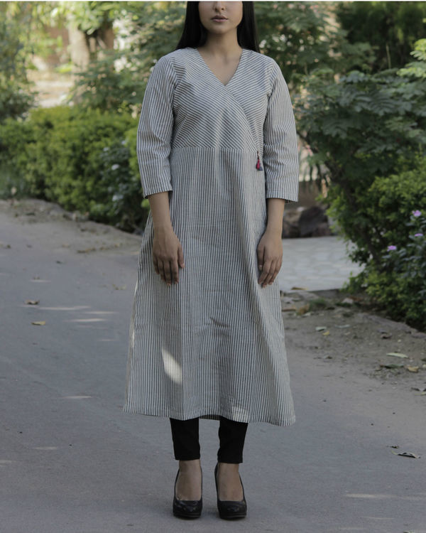 Striped grey angrakha with tassels