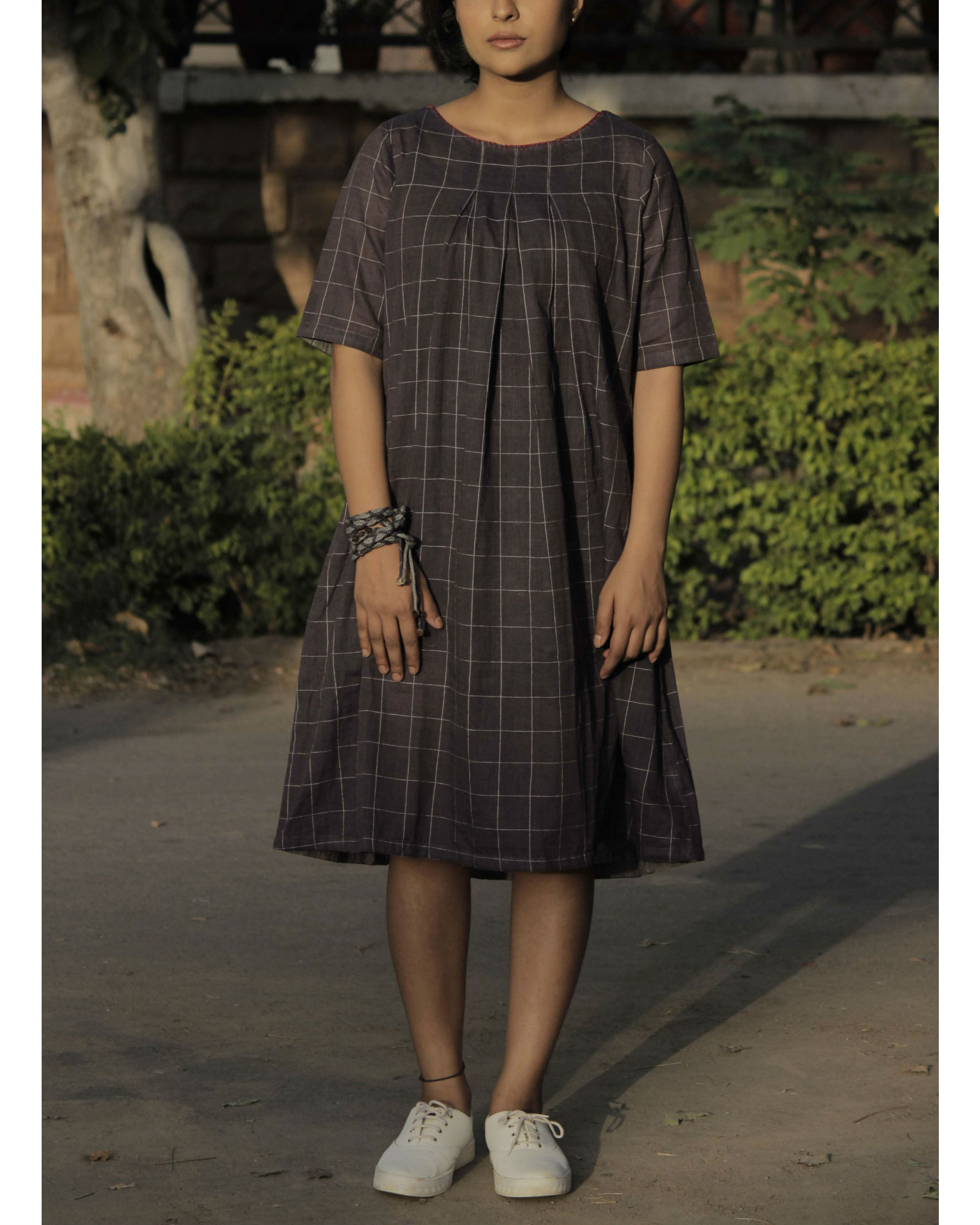 Pleated brown checkered dress