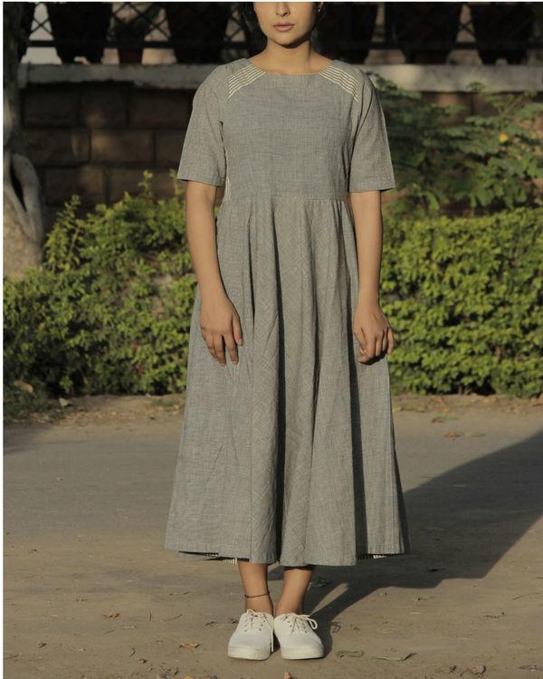 Grey panel flared dress