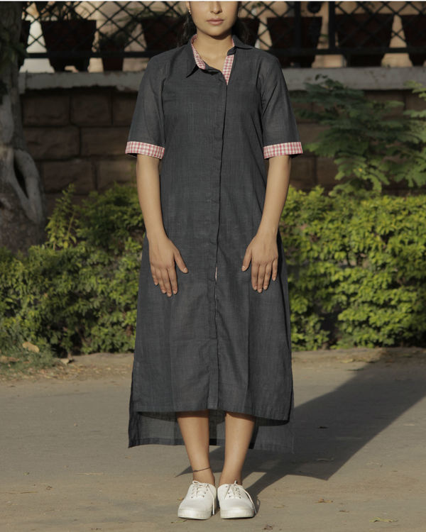 Deep grey asymmetrical kurta
