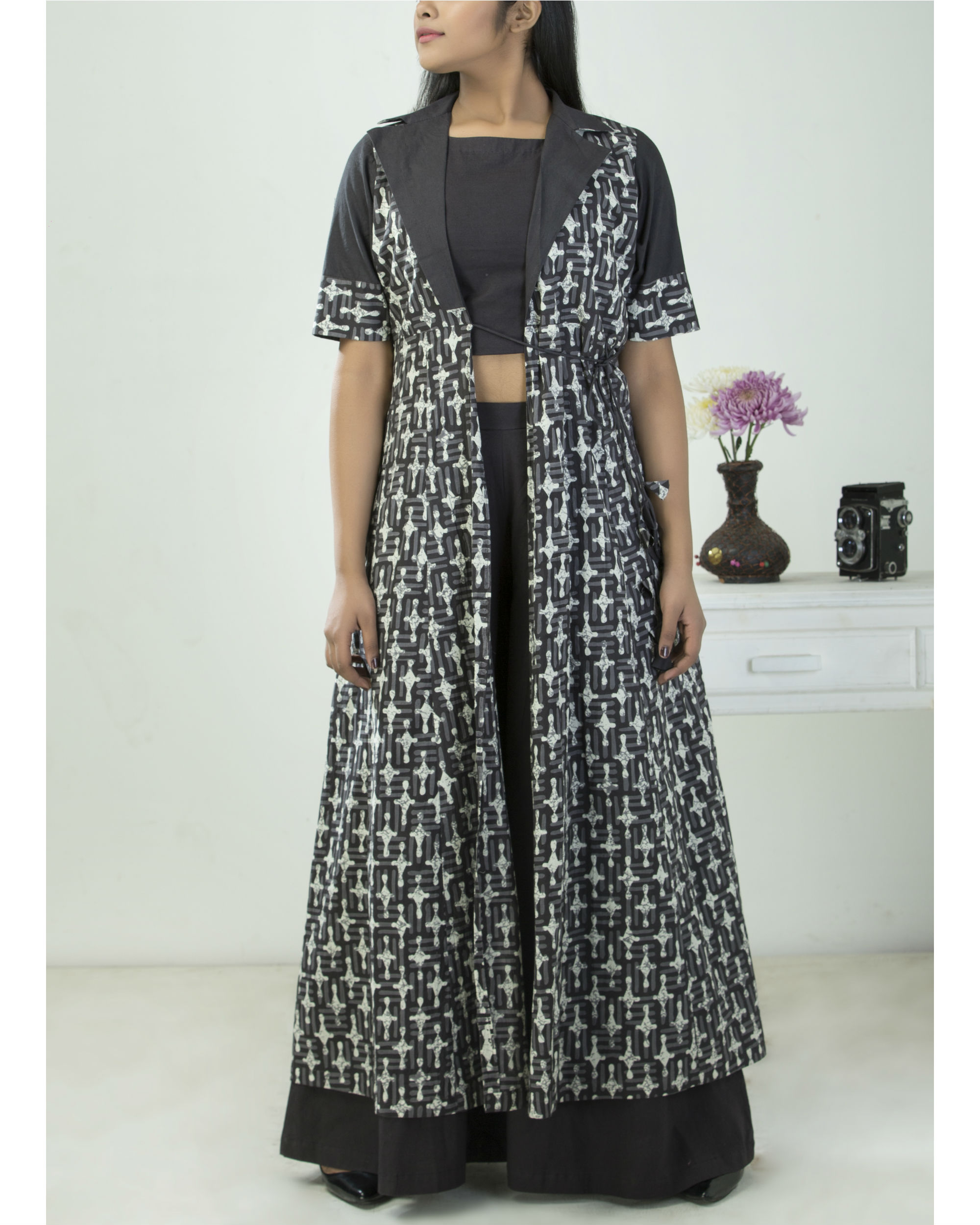Printed kalidar cape with blouse and palazzo