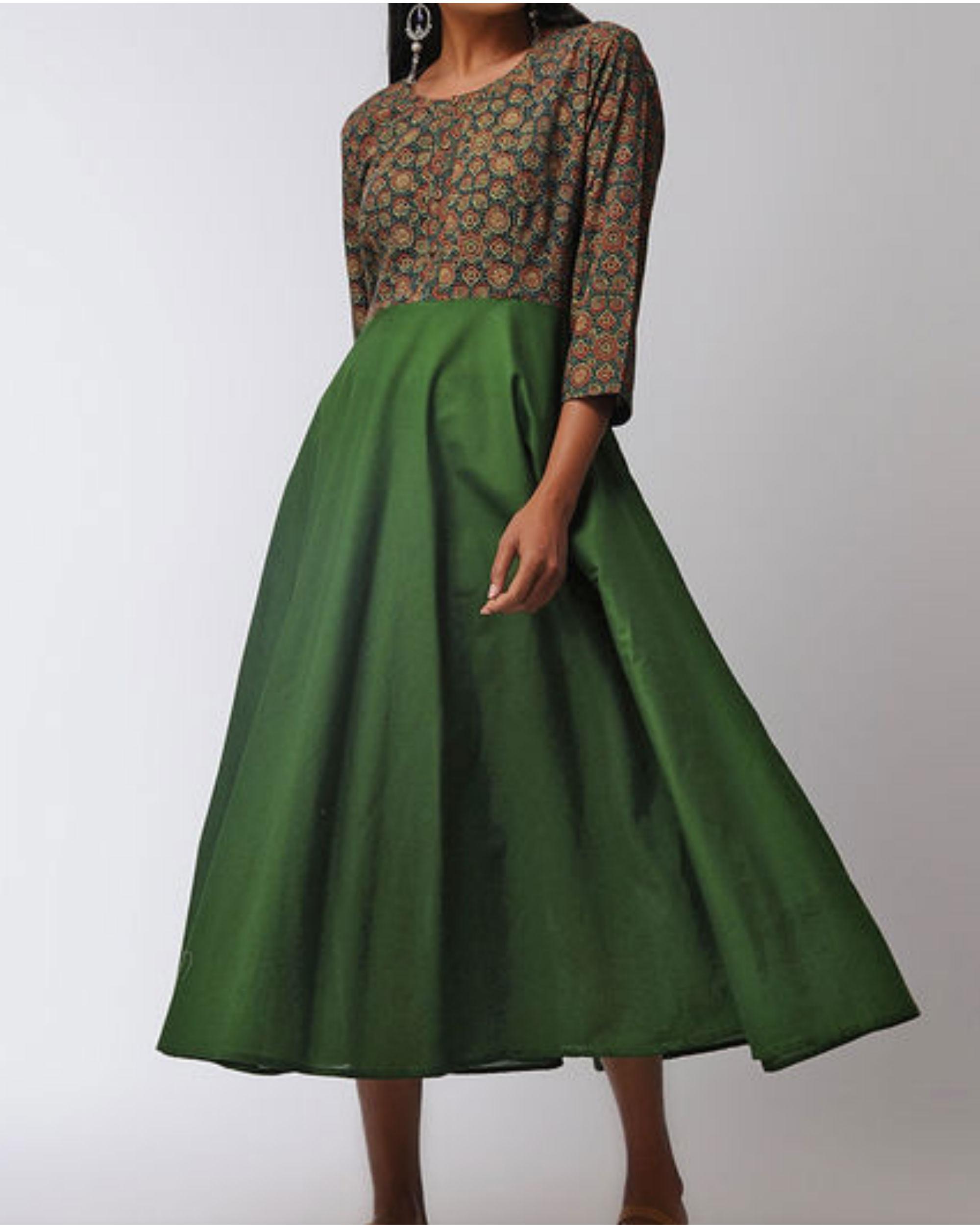 Green ajrakh flared dress