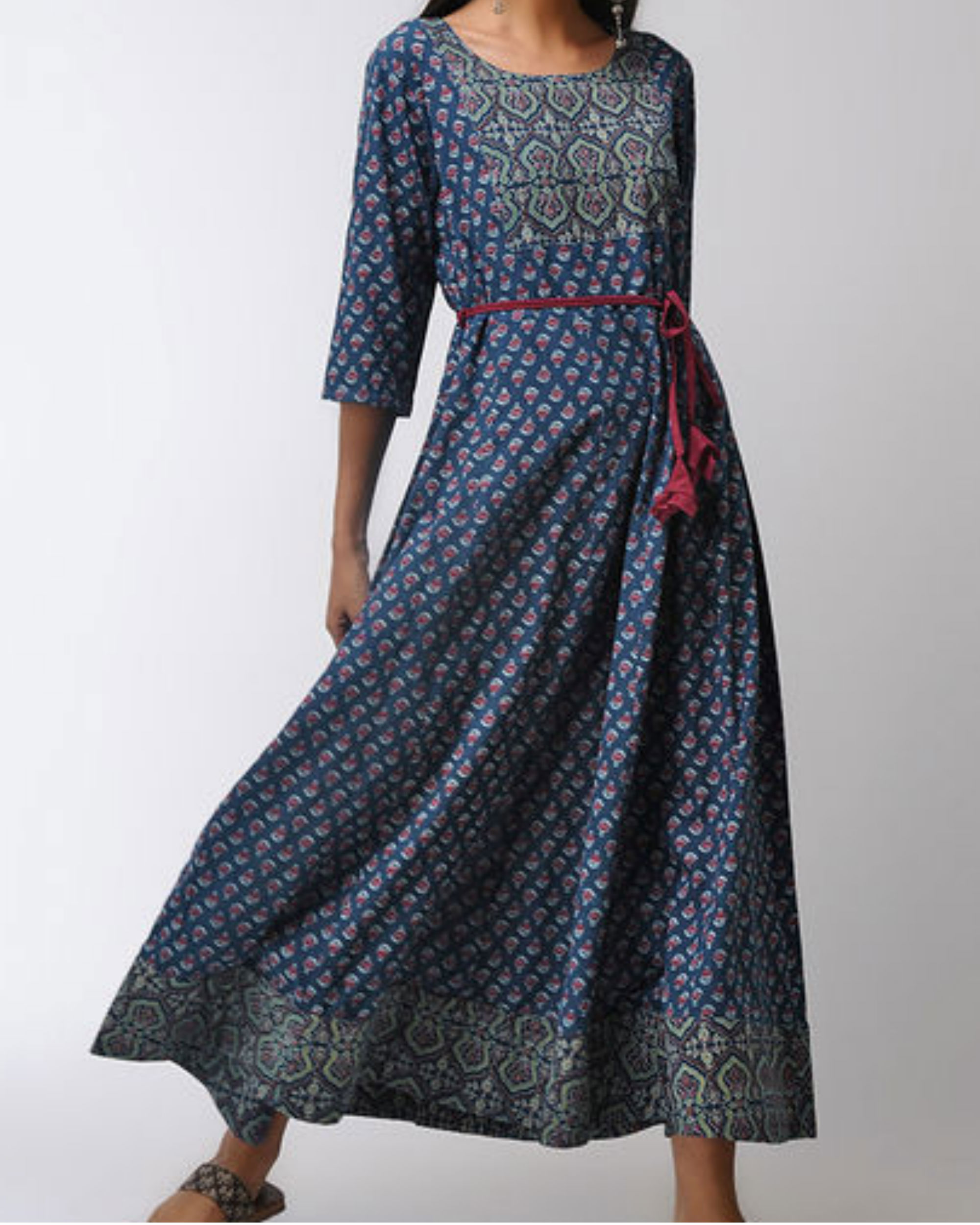 Blue patched ajrakh dress