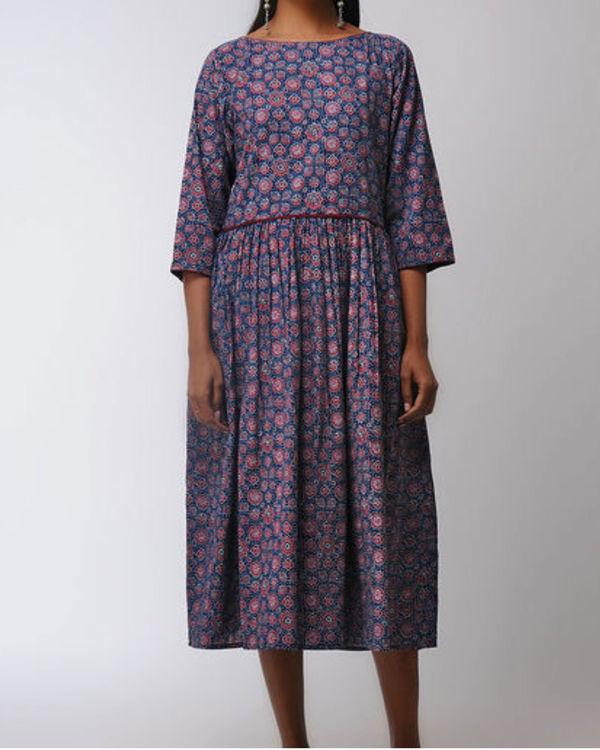 Blue gathered midi dress