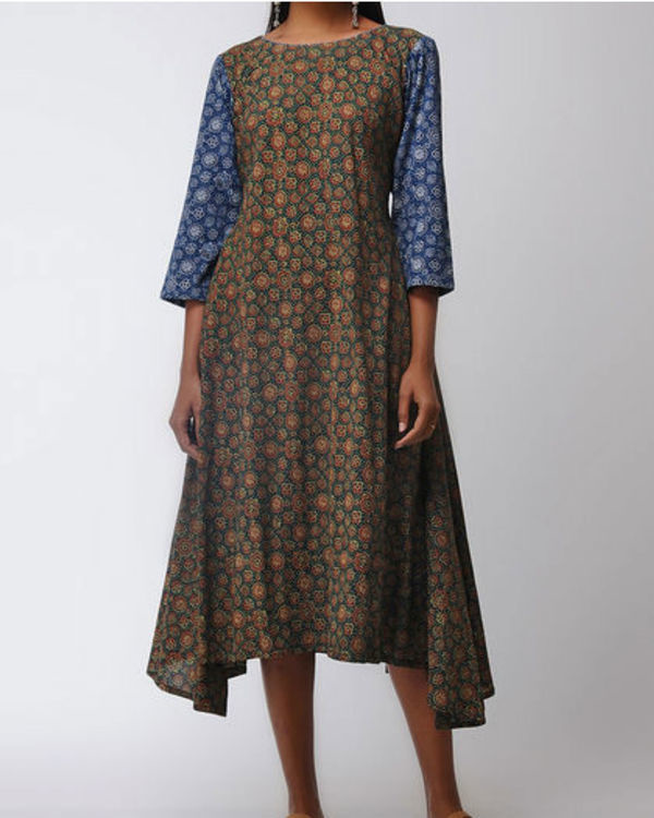 Blue and green ajrakh flared dress