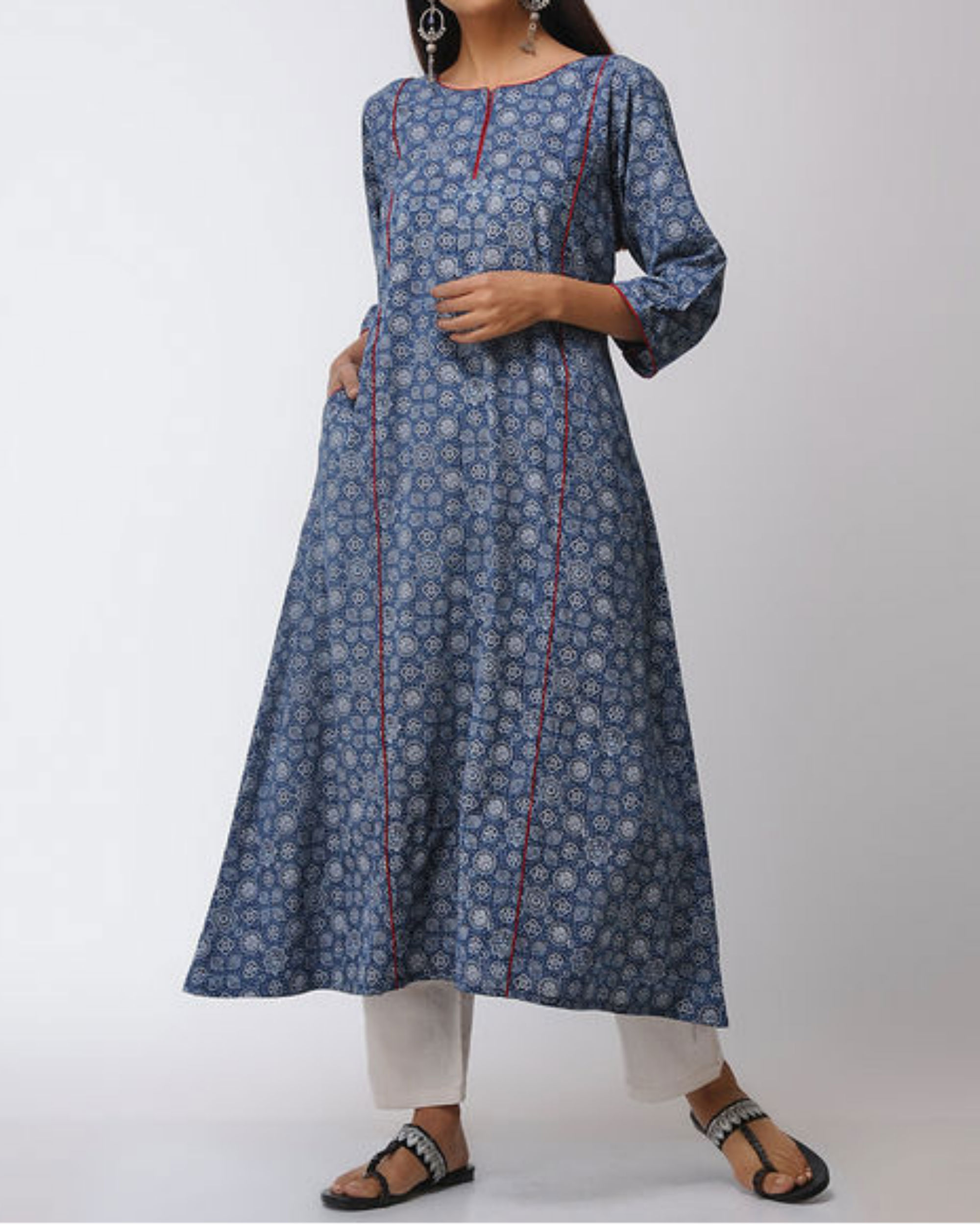 Blue ajrakh straight kurta