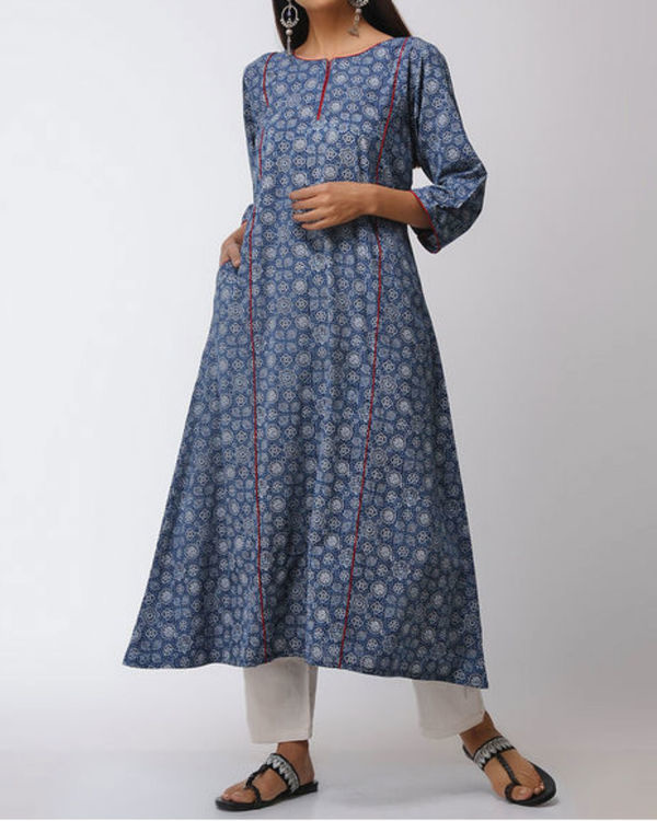 Blue ajrakh straight kurta