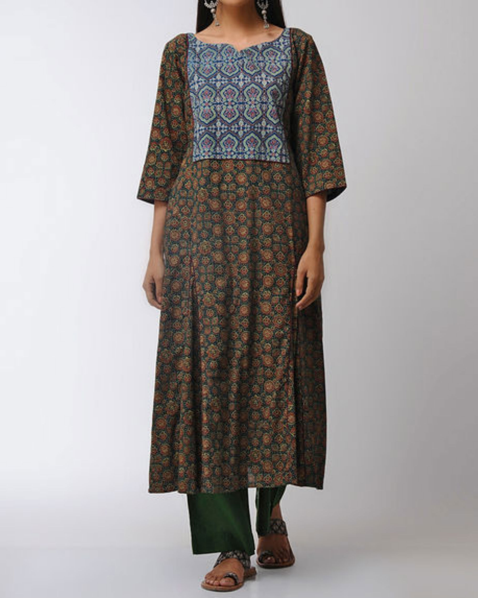 Green gored kurta with blue patched yoke