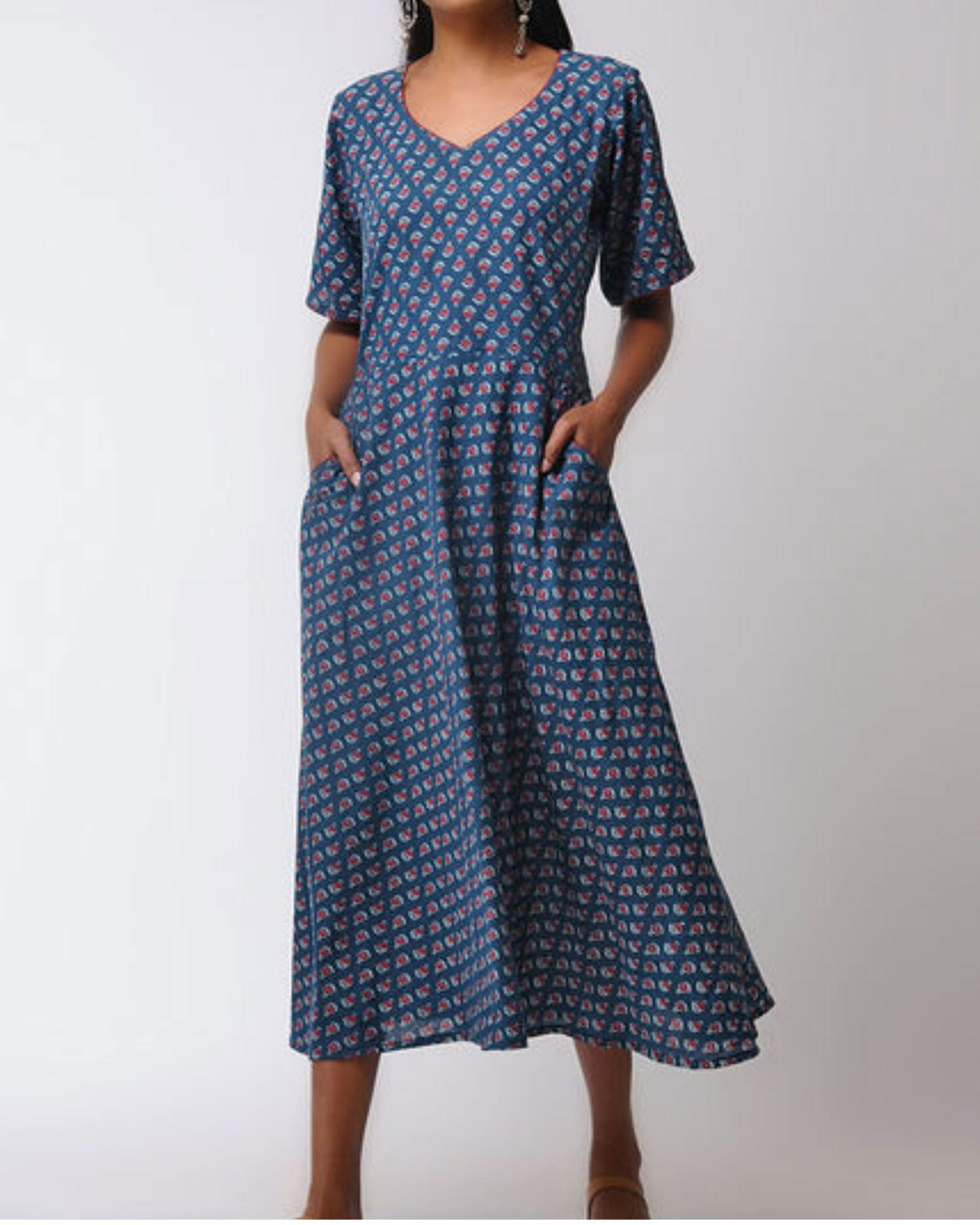Flared ajrakh midi dress