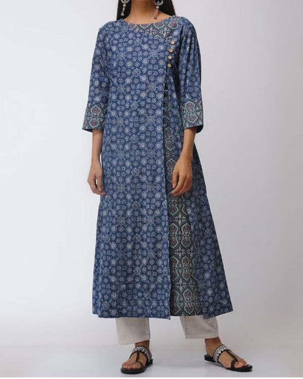 Double layered ajrakh kurta with front slit