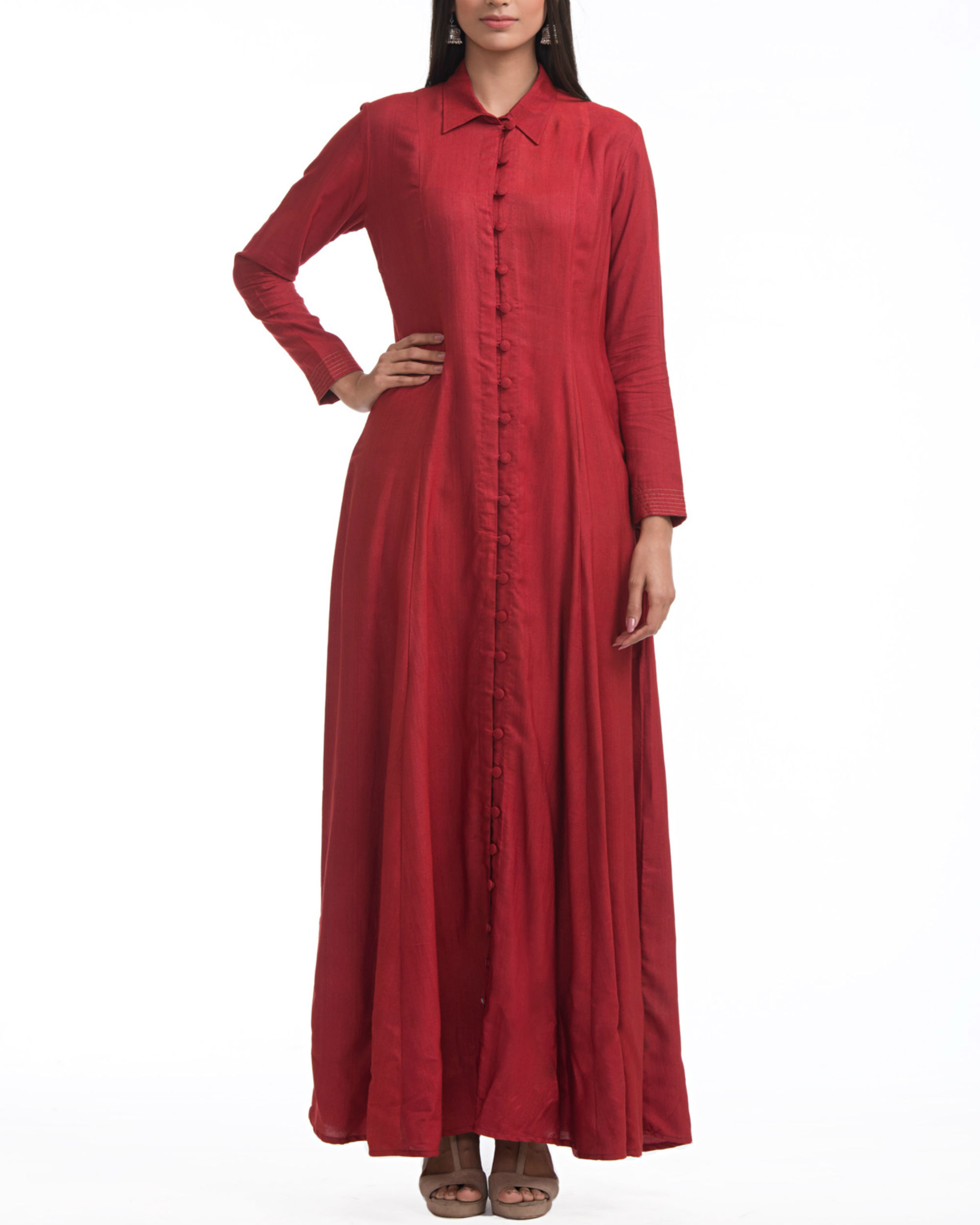 Maroon shirt collar maxi