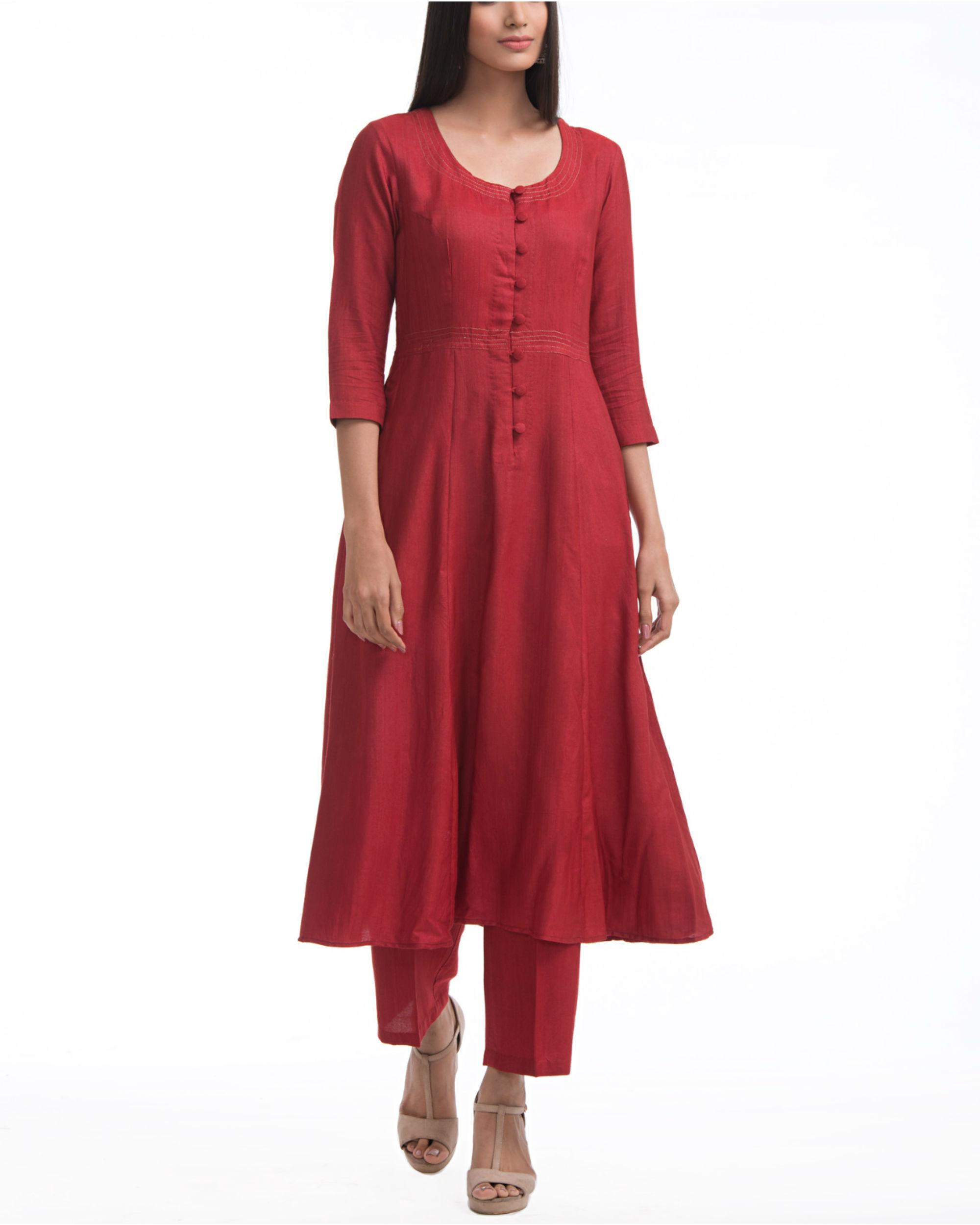 Maroon a-line yoke dress