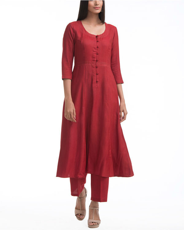Maroon a-line yoke dress