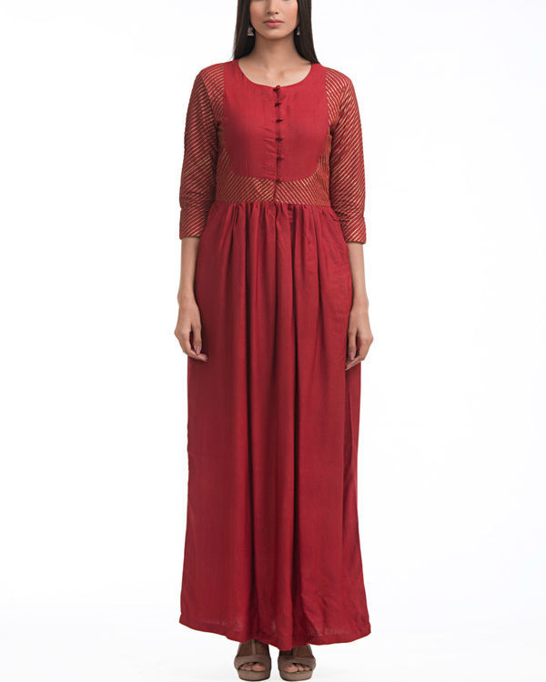 Maroon patch printed maxi