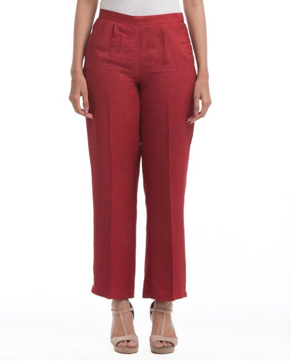 Maroon pleated pants