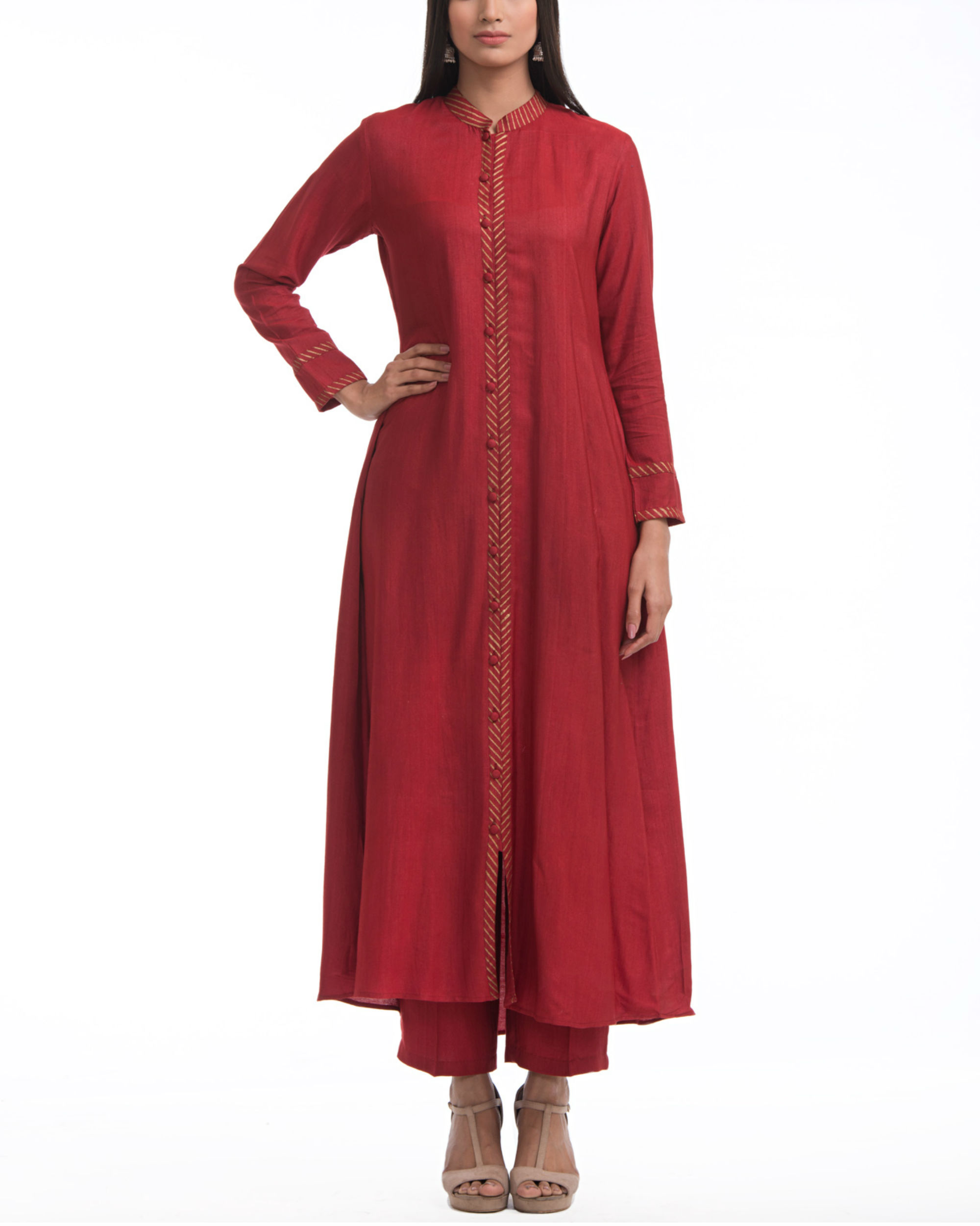 2e5c072e475 Maroon flared front slit tunic by ANS | The Secret Label