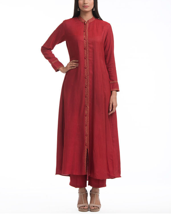 Maroon flared front slit tunic