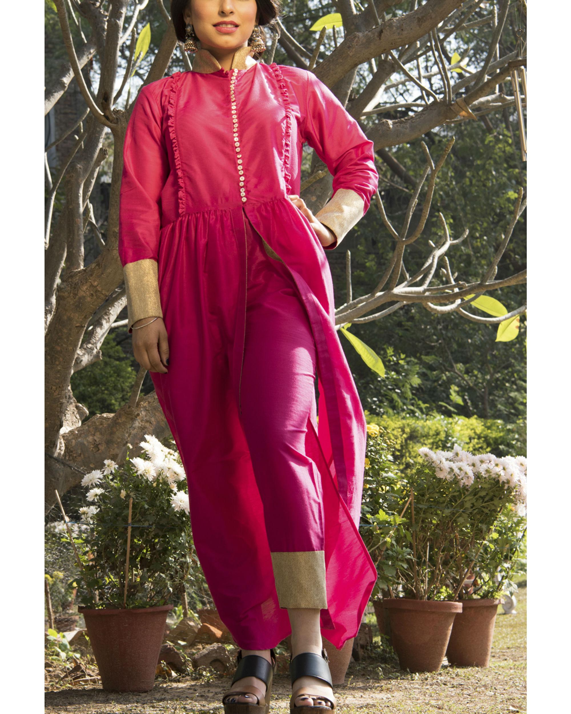 Bright pink kurta cape and pants