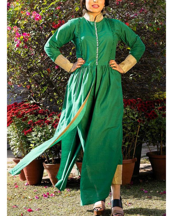Leaf green kurta cape and pants