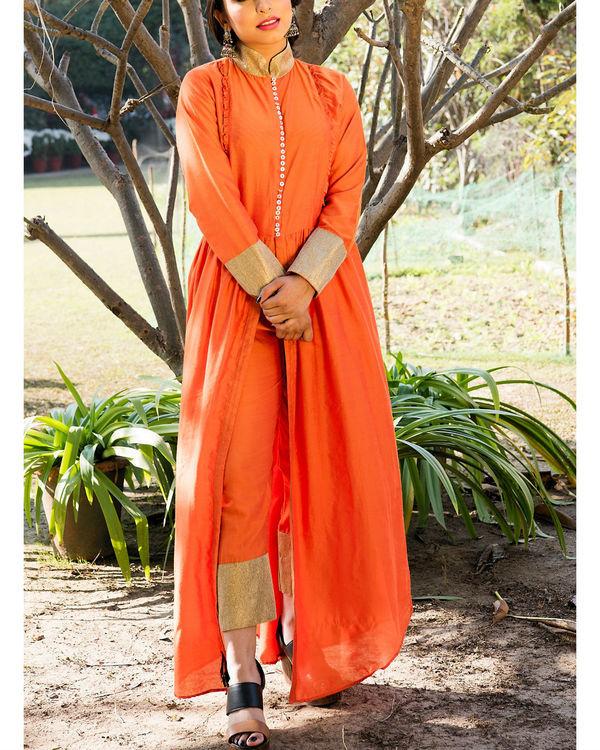 Orange kurta cape and pants