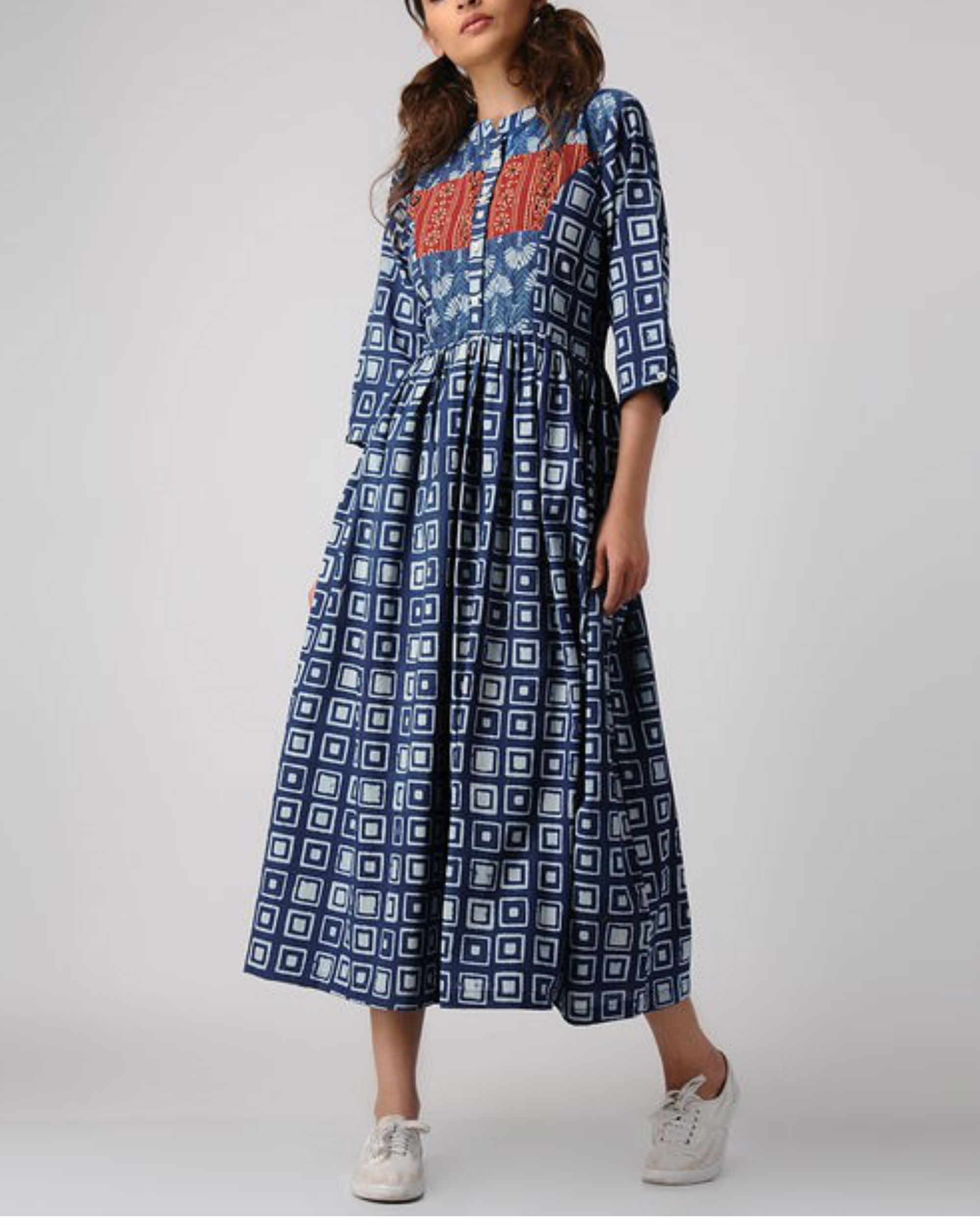 Indigo patch dress