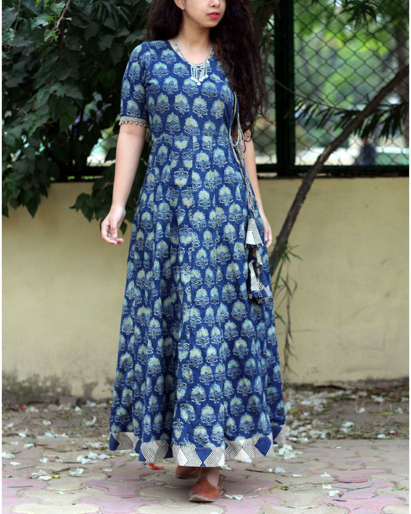 Indigo ajrakh print angrakha dress