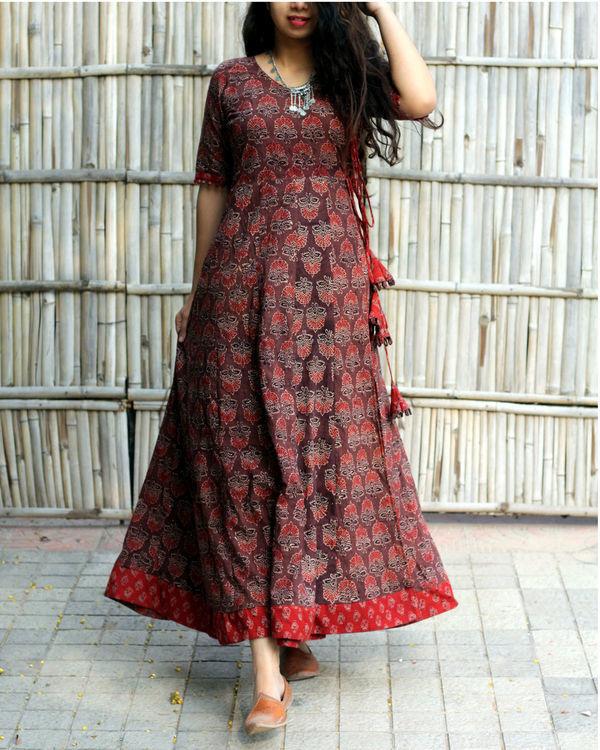 Caramel brown ajrakh print angrakha dress