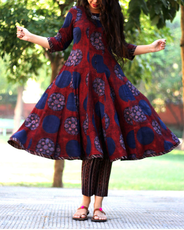 Beet red circle print ajrakh kurta with striped pants