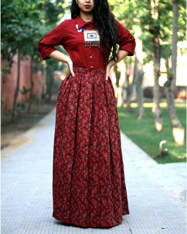 Brick red shirt with jaal ajrakh print skirt
