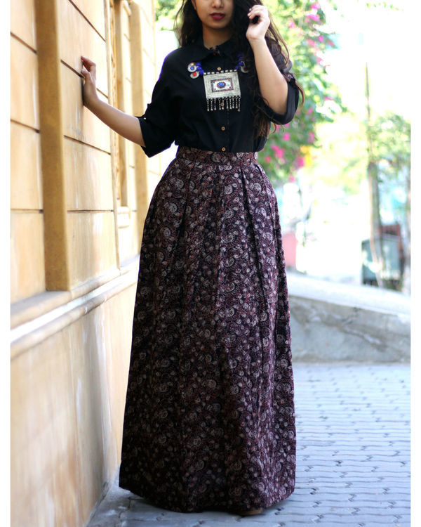 Black shirt with jaal ajrakh print skirt