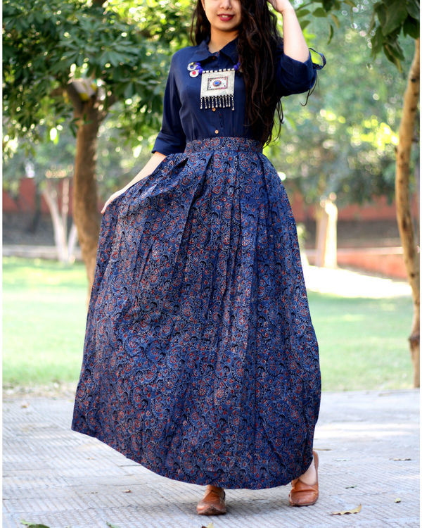 Navy blue shirt with jaal ajrakh print skirt
