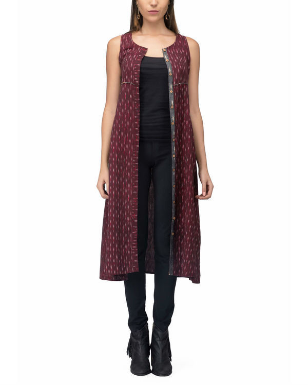 Maroon ikat jacket dress