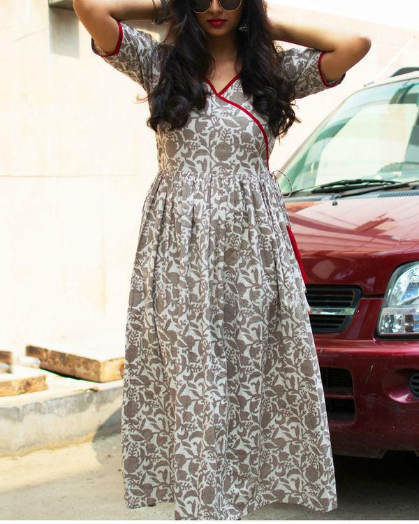 Mud brown floral dress