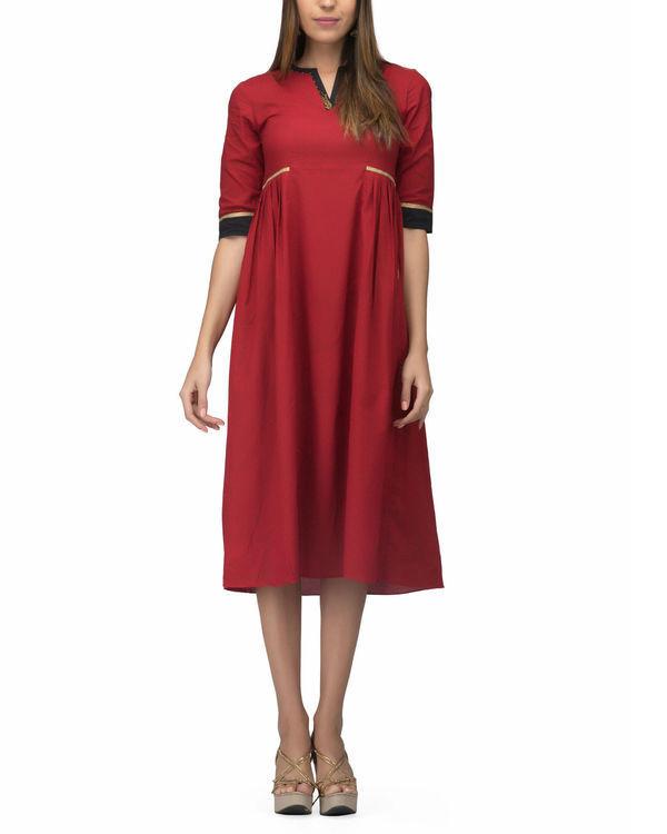 Red side pleat dress