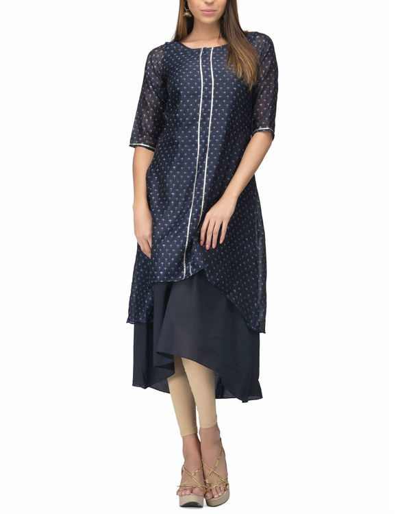 Navy Chanderi Layer dress
