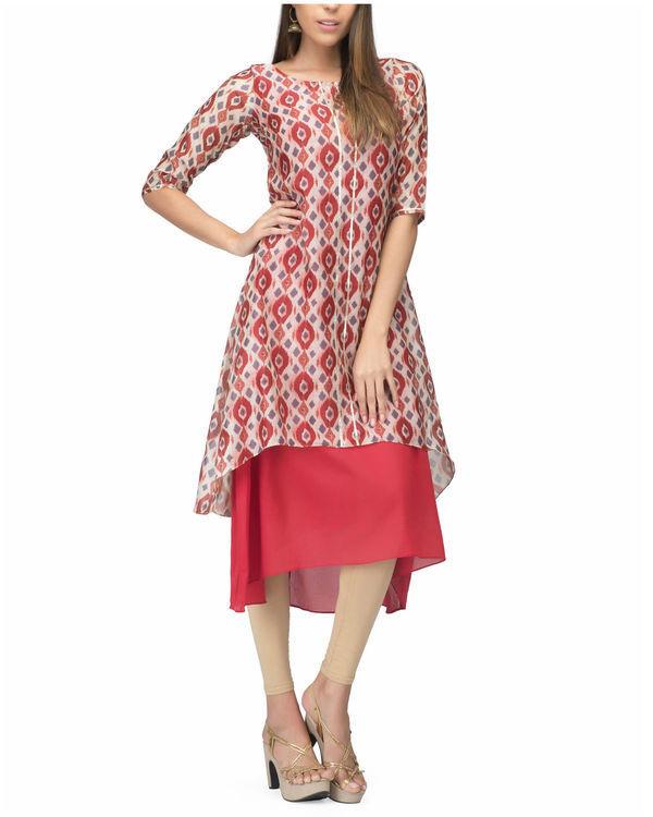 White red chanderi layer dress