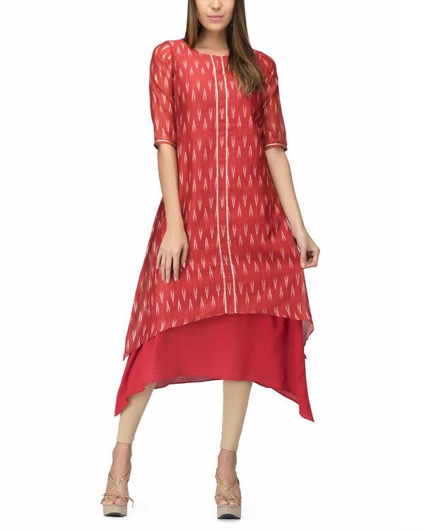 Chanderi red print layered dress