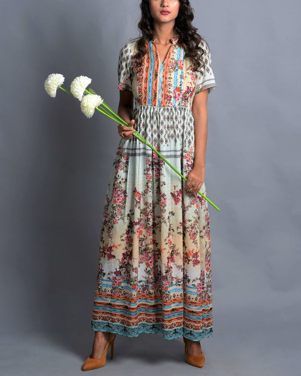 Moroccan multi-print long dress