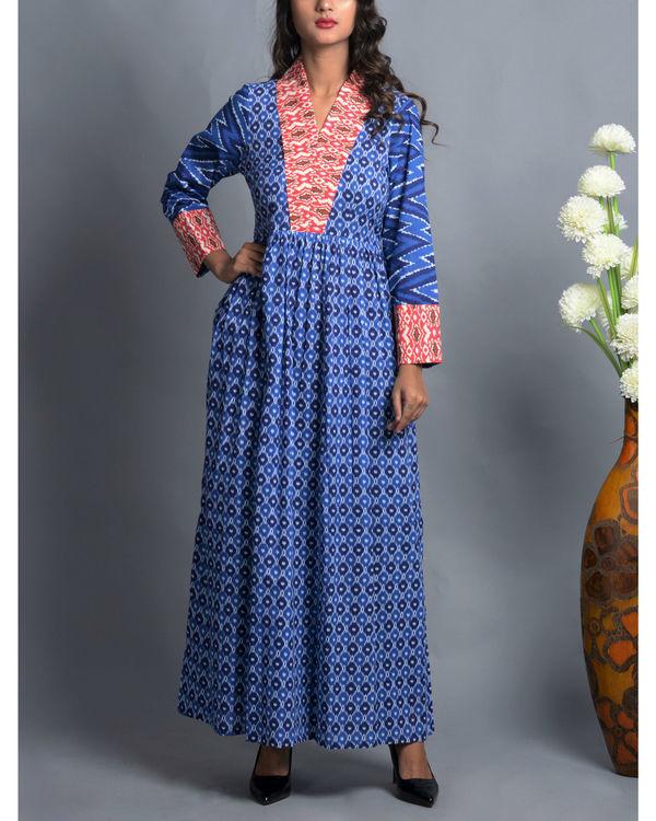 Blue patola print dress with shawl collar