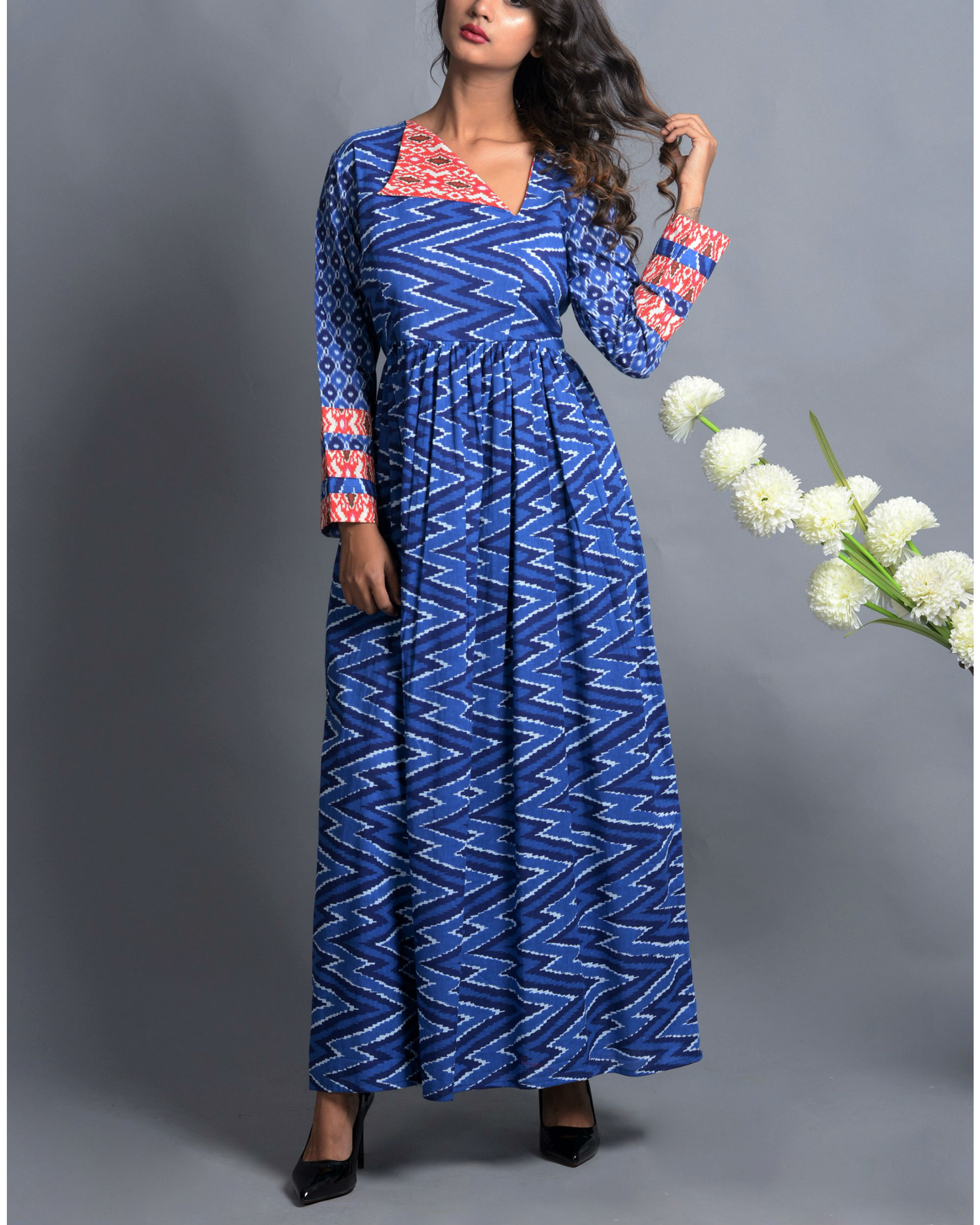 Indigo patola print dress with fall flap collar