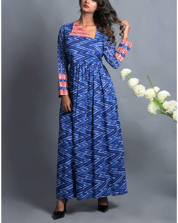 Indigo patola print dress with fall flap collar