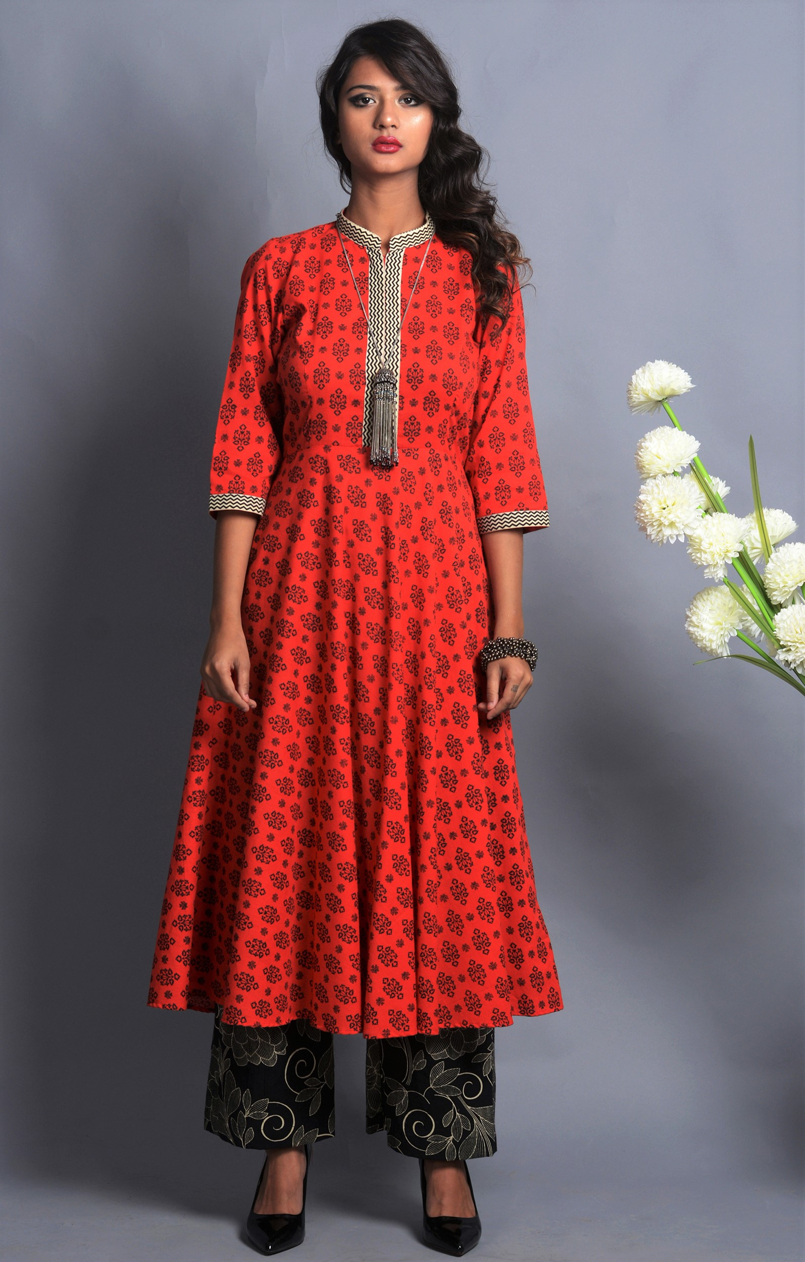 Red and black flared kurta palazzo set